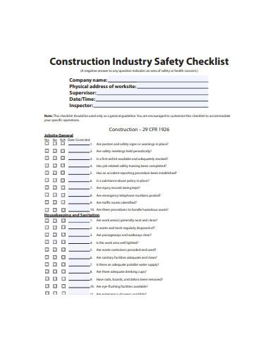 construction industry safety checklist template