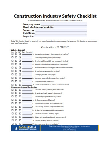 construction industry safety checklist