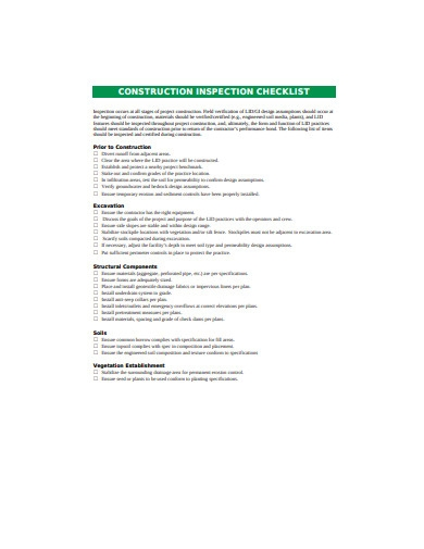 construction inspection checklists