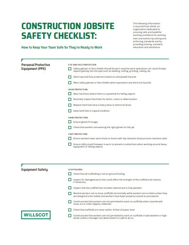 construction jobsite safety checklist