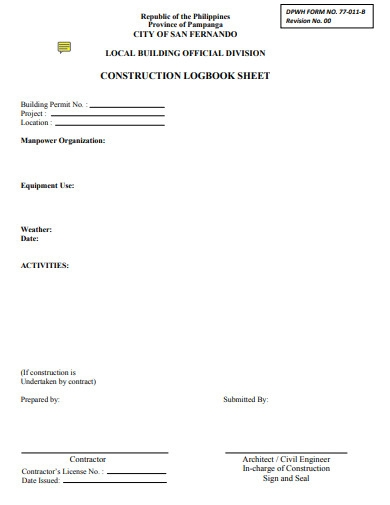 construction logbook sheet