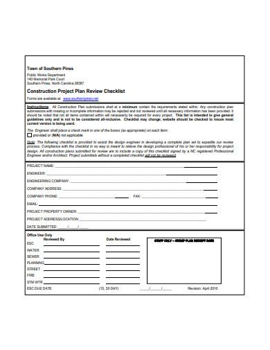 construction project plan checklist