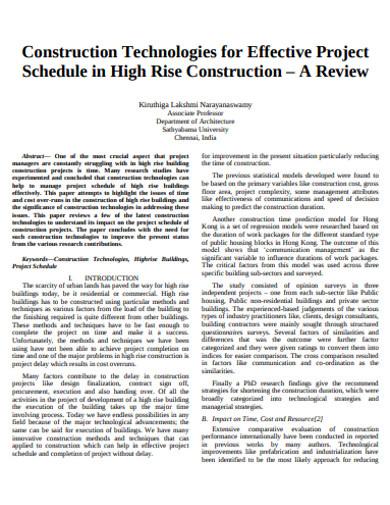 construction project schedule format