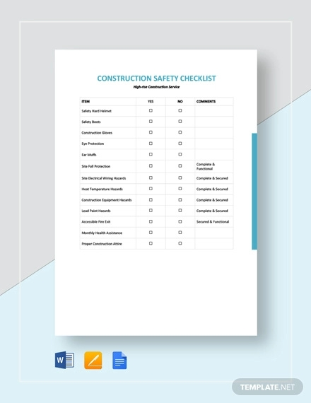 construction safety checklist template3