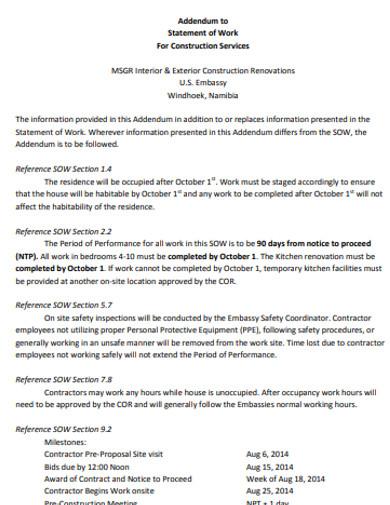 construction statement addendum
