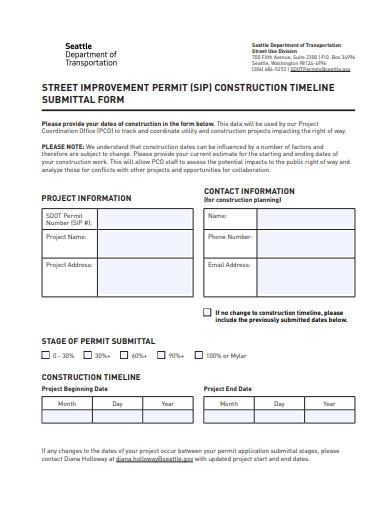 construction submittal timeline form