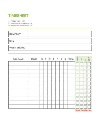 construction timesheet template