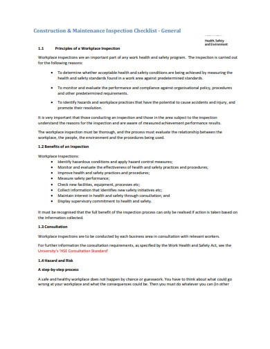 construction and maintenance inspection checklist