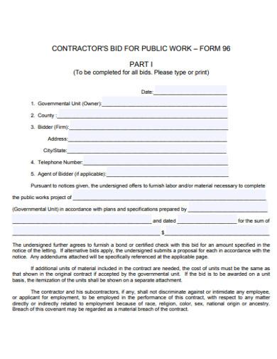 contractor bid form