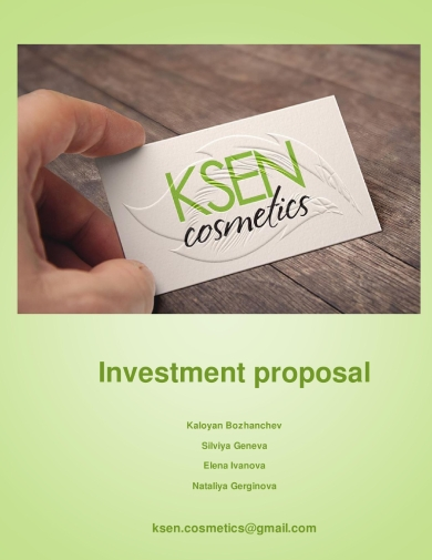 cosmetic product investment or sales proposal