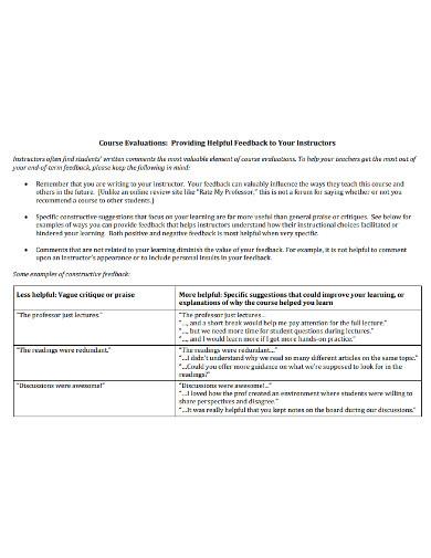 course evaluation feedback