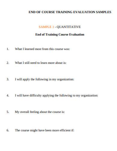 course training evaluation