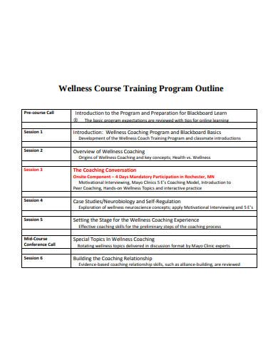 course training program outline