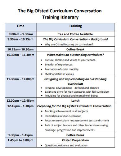 curriculum conversation training itinerary example