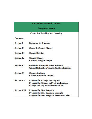 curriculum training proposal