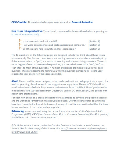 economic evaluation checklist