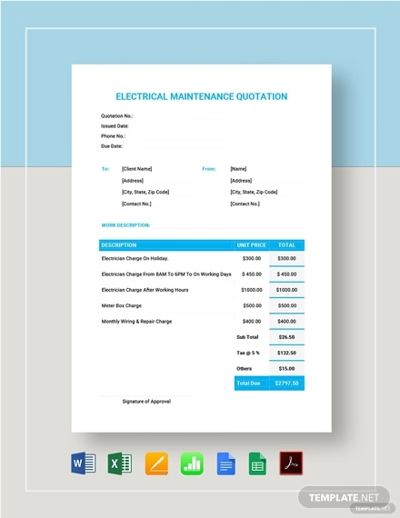 electrical maintenance quotation format template1