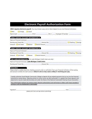 electronic payroll authorization form