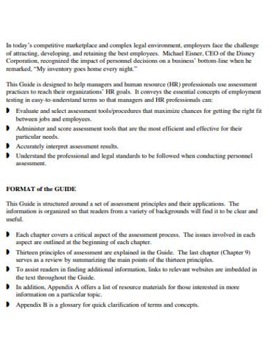 emploer guide assessment example