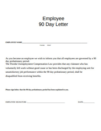 employee 90 day letter