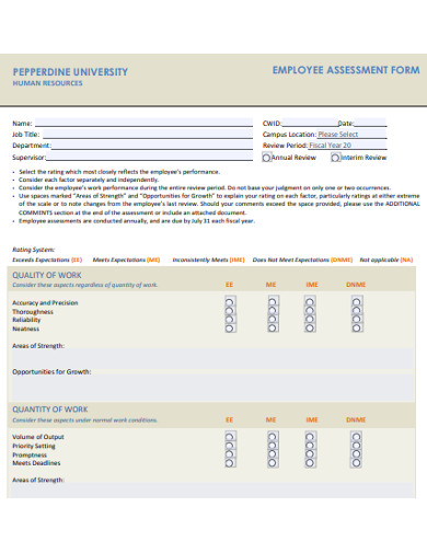employee assessment form example