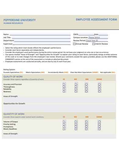 FREE 8+ Employee essment Examples & Templates - PDF, DOC ... Employee Essment Form Examples on