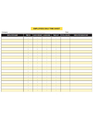 employee daily timesheet