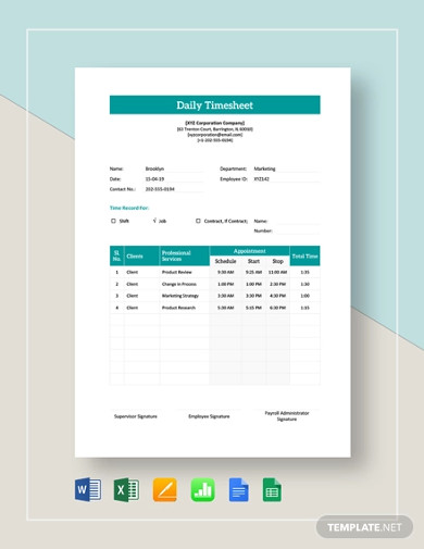employee daily timesheet template