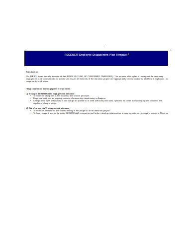 employee engagement plan template in doc