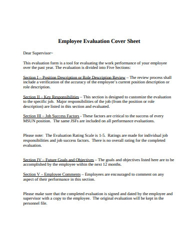 employee evaluation cover sheet