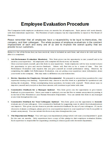 employee evaluation procedure