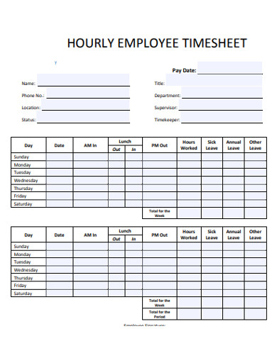 employee hourly timesheet