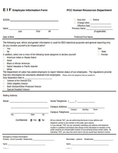 employee information form example