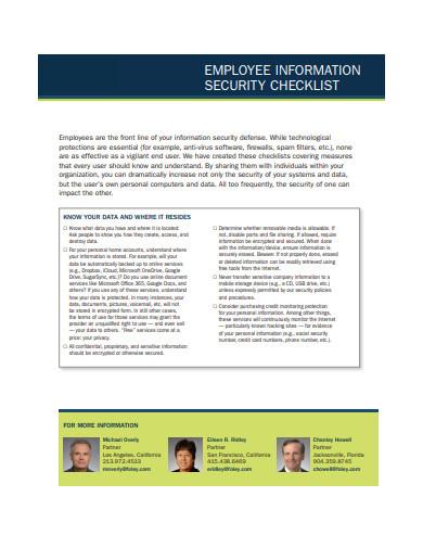employee information security checklist
