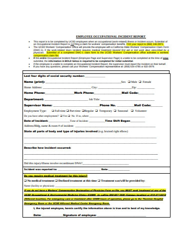employee occupational incident report