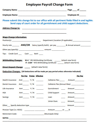 employee payroll change form example