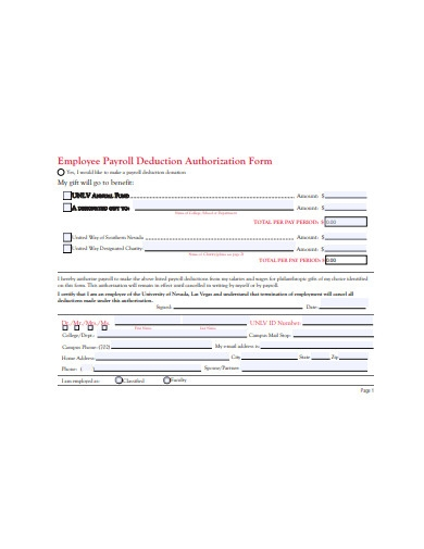 employee payroll deduction authorization form