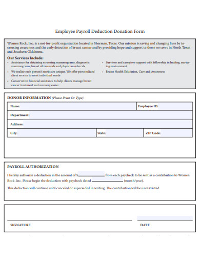 employee payroll deduction donation form