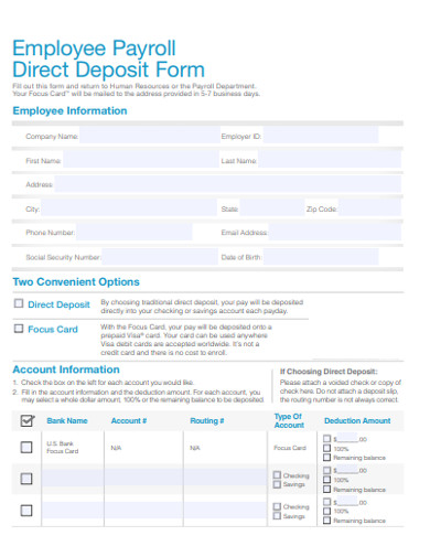 employee payroll direct deposit form example