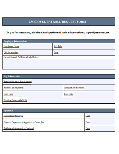 employee payroll request form example