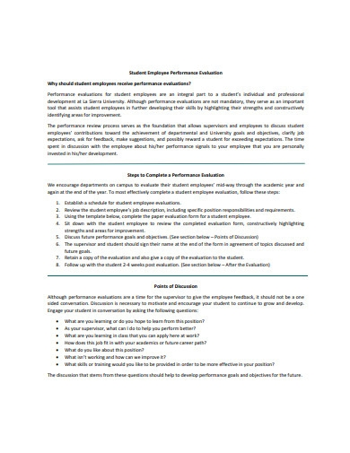 employee performance evaluation example
