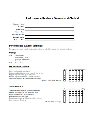 employee performance review example in doc