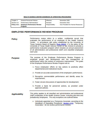 employee performance review program
