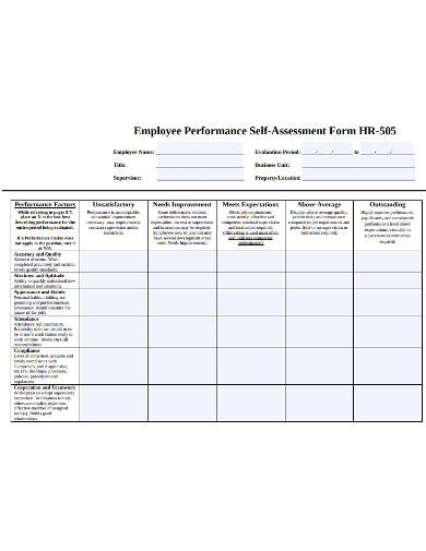 employee performance self assessment form