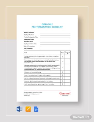 employee pre termination checklist template