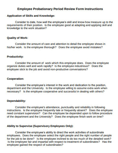 employee probationary period review