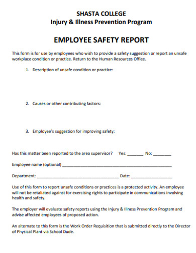 employee safety report example