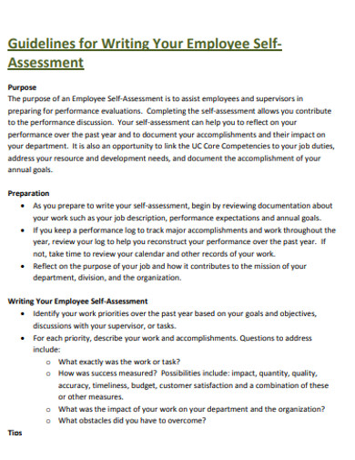 employee self assessment example