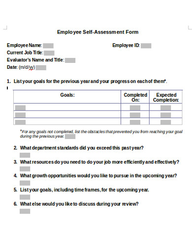 employee self assessment form example