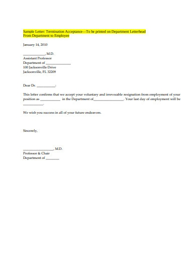 employee termination acceptance letter example